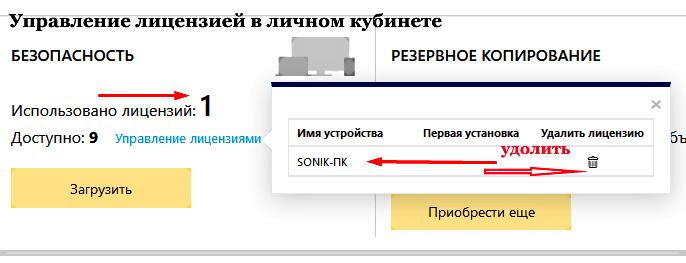 управление лицензией подпиской в личном кубинете